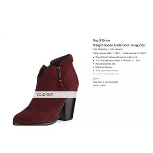 Rag & bone Margot booties size 37 burgundy